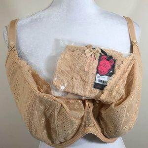 NWT Tutti Rouge 38K Bra & L Panties Set Nude